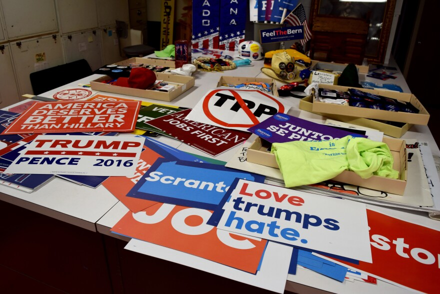 A portion of the Smithsonian's collection of memorabilia from the Republican and Democratic national conventions this year.