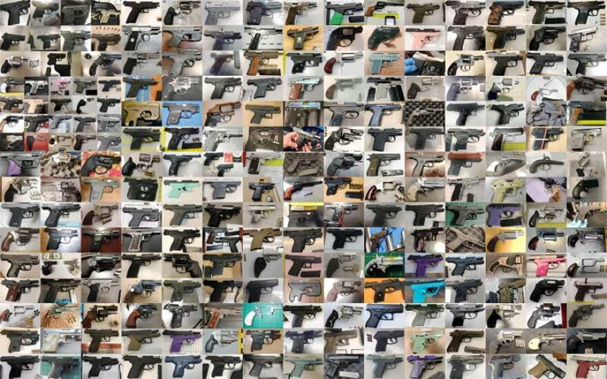 Montage of guns collected by TSA