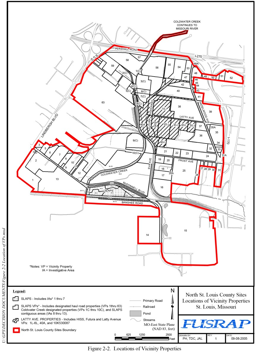 On this map from the U.S. Army Corps of Engineers' 2005 Record of Decision, the red line outlines the properties comprising the Corps' North St. Louis County cleanup sites.