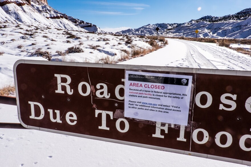 Photo of Capitol Reef closed.