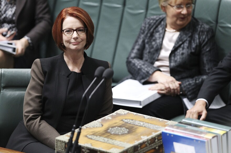 Prime Minister Julia Gillard during question time at Parliament House on Wednesday in Canberra, Australia.