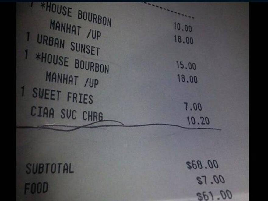 Wright's bill indicated a surcharge was attached during CIAA week.