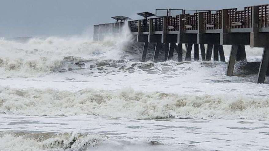 High surf pounds the Jacksonville Beach Pier during Hurricane Dorian