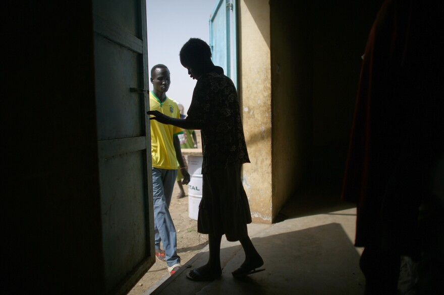 A woman has just picked up her medication at a Doctors Without Borders clinic in Bentiu.