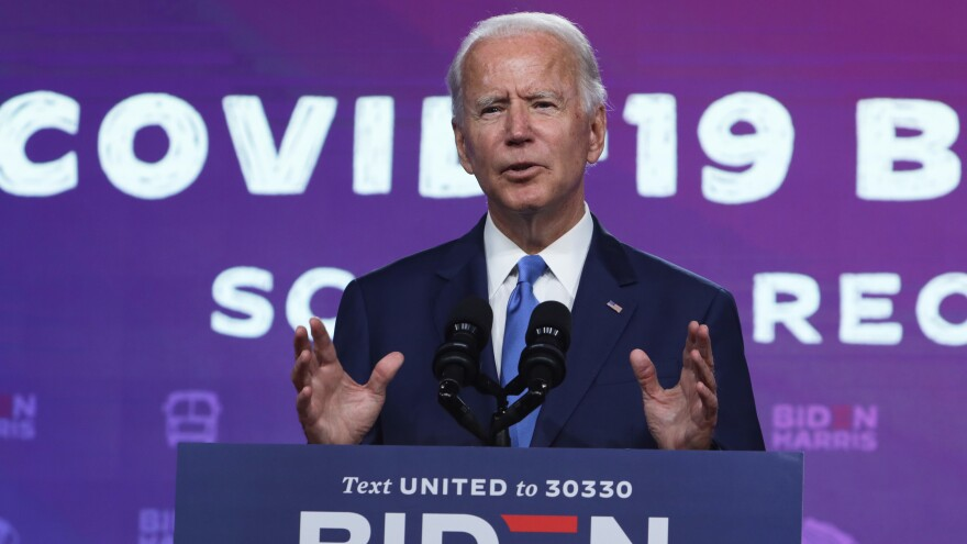 Democratic presidential nominee Joe Biden spoke about school reopenings at a Wednesday event in Wilmington, Del.