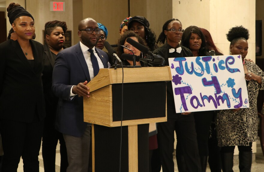 Rep. Shevrin Jones (D-Hollywood) speaking at a press conference held by Dignity Florida.