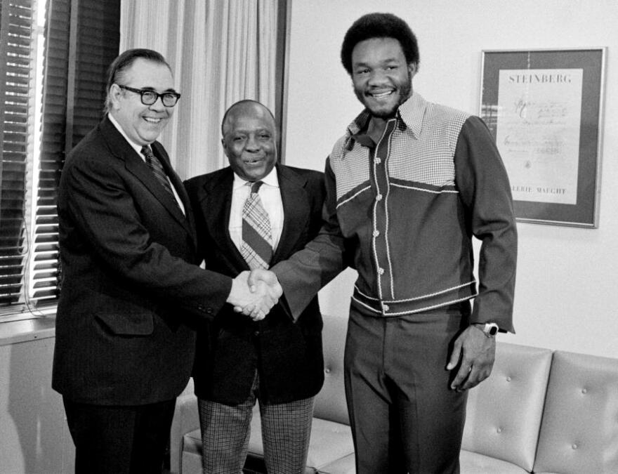 George Foreman before the Grill: Foreman, far right, visiting the United Nations headquarters in New York City in 1974 when he was heavyweight champion.