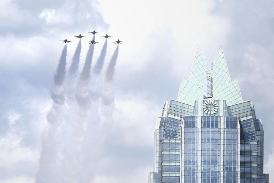 Air Force Thunderbirds fly over Austin in a salute to essential workers on May 13.