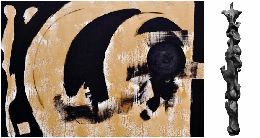 """Left, """"Black Horizon,"""" (2017) is one of many Alpert originals made with acrylic and coffee on canvas. """"Gratitude"""" is a bronze sculpture from his series of Black Spirit Totems."""