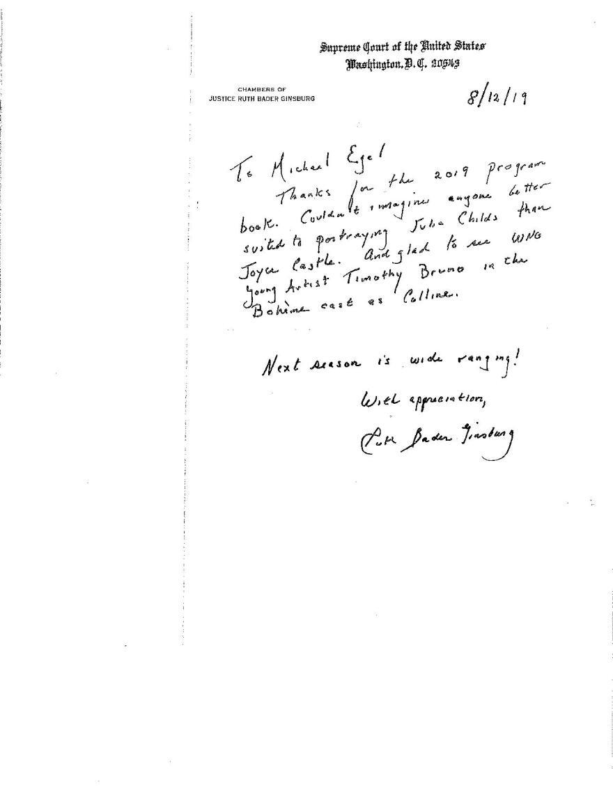 RBG Letter to Michael Egel
