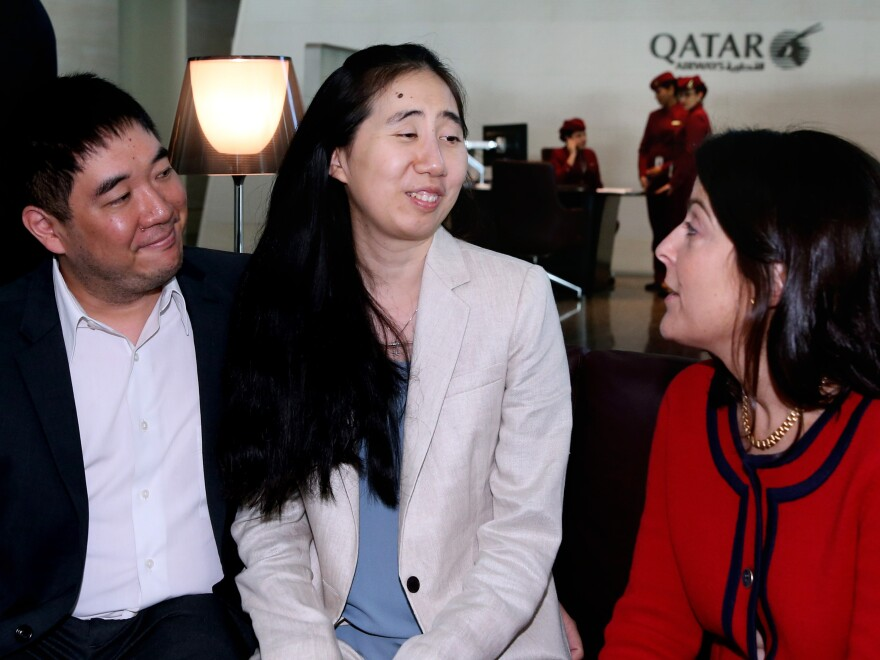 Shortly before they left Qatar on Wednesday, Grace and Matthew Huang spoke with Dana Shell Smith, the U.S. ambassador to Qatar, at the Hamad International Airport in Doha.