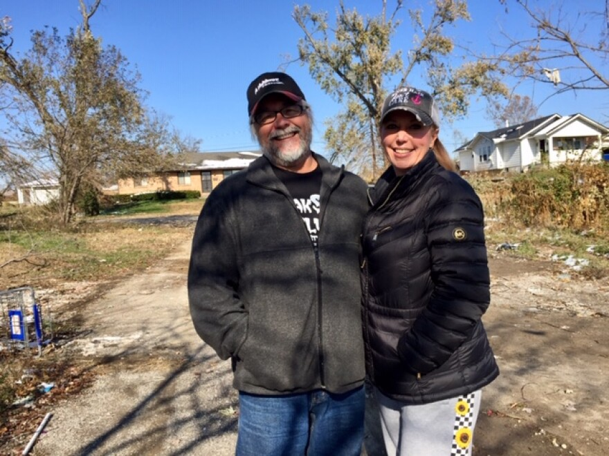 Timothy Walker and Beth Wentz outside their destroyed Northridge home.