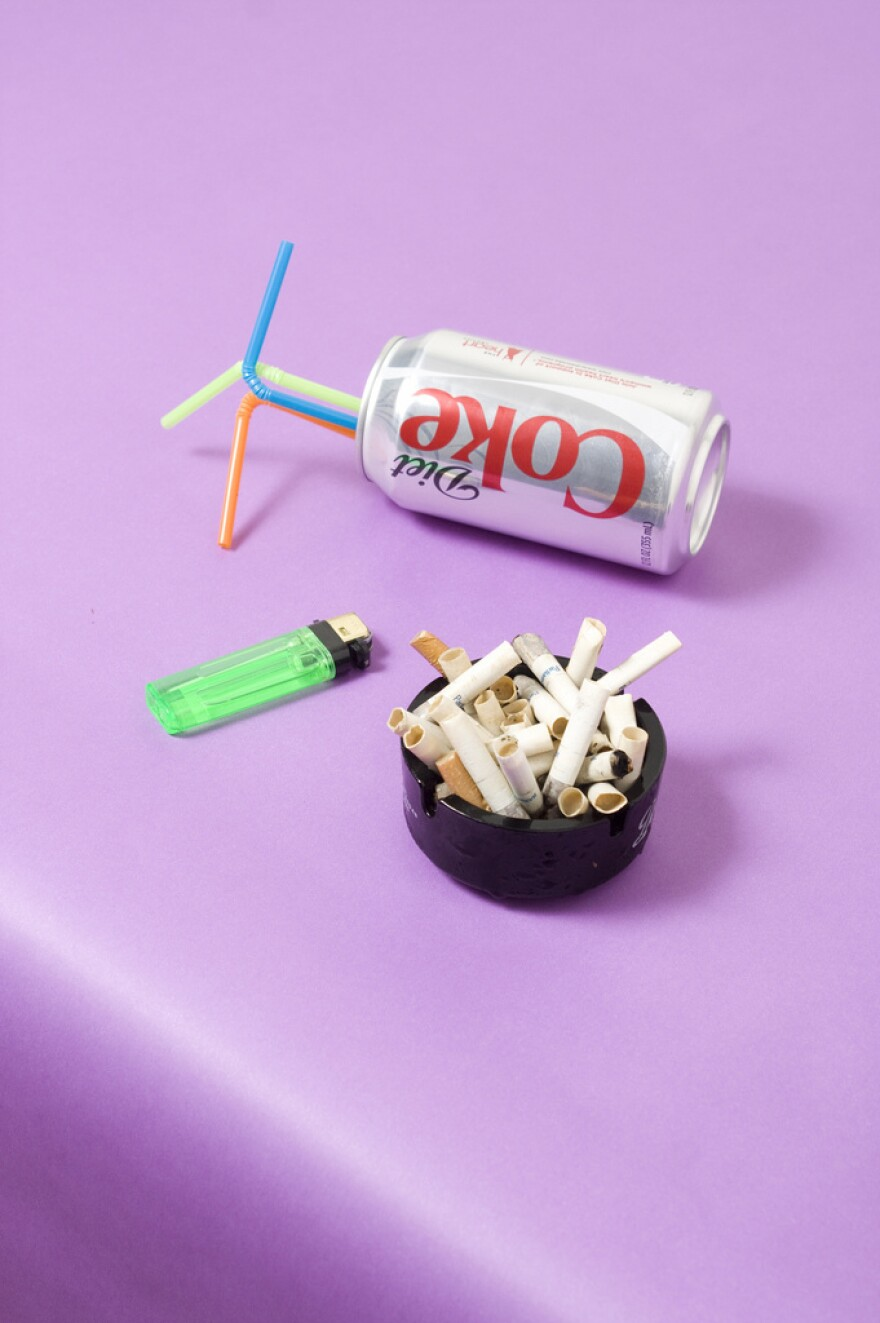"""<strong>The Model Diet:</strong> This was Gonot's tongue-in-cheek take on popular perception of how models keep their appetites in check. """"You hear that models drink coffee and smoke cigarettes all day, or you see them holding a Diet Coke behind the scenes,"""" Gonot says."""
