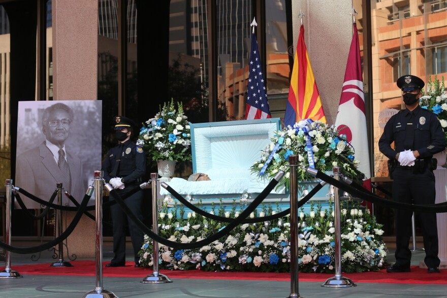 Calvin C. Goode is laid at state in front of Calvin C. Goode Municipal Building in Phoenix on Saturday, Jan. 9, 2021. (Cheyanne Mumphrey/AP)