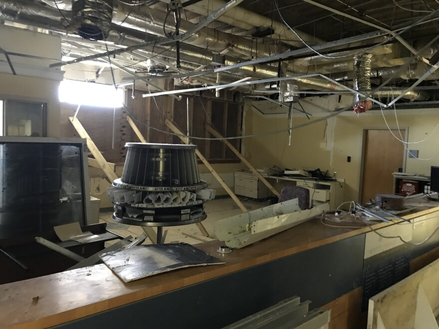 High winds blew out ceiling panels and damaged ducts and pipes at Schneider Regional Medical Center, the only hospital on St. Thomas, when a window on the hospital's top floor blew out.
