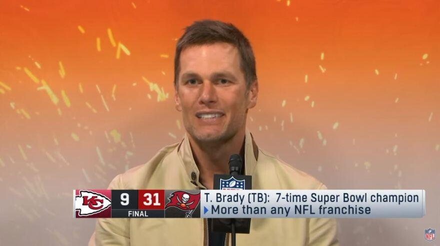 Tom Brady at the podium