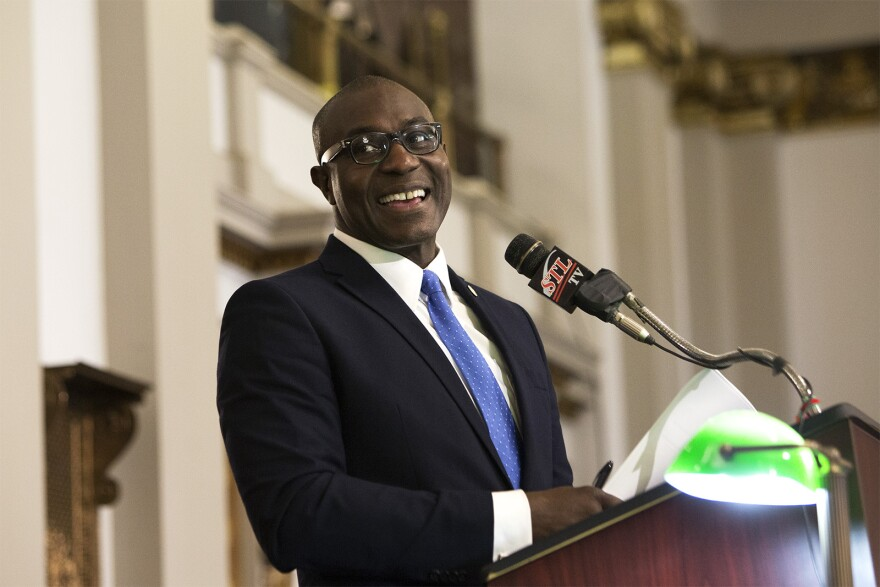 Board of Aldermen President Lewis Reed at the dais in April 2019. He sponsored legislation that steered some of the city's budget surplus toward Cure Violence
