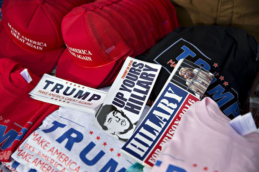 Merchandise supporting Republican presidential candidate Donald Trump sits on a table outside a campaign rally in Muscatine, Iowa, on Jan. 24.