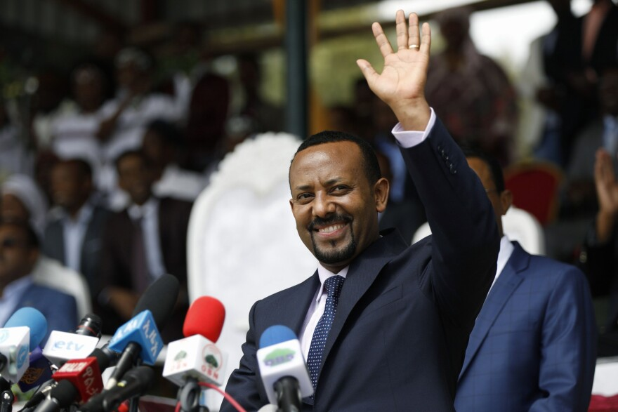 Ethiopia's new prime minister, Abiy Ahmed, at a rally in April, soon after he was selected to lead by the Ethiopian People's Revolutionary Democratic Front, the ruling party.