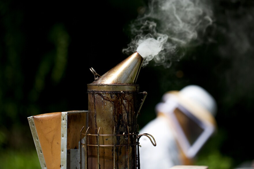 Beekeepers use this device, called a smoker, to calm honeybees.