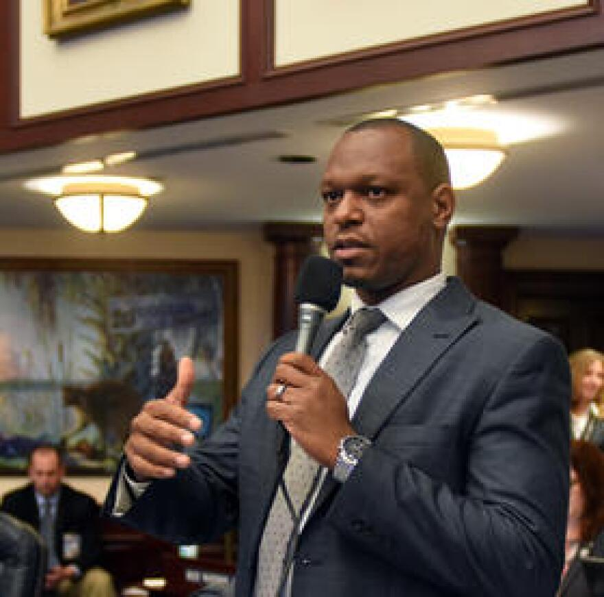 Then Rep. Randolph Bracy (D-Ocoee) debating on the House floor.  Now as a senator, Bracy chairs the Criminal Justice Committee.