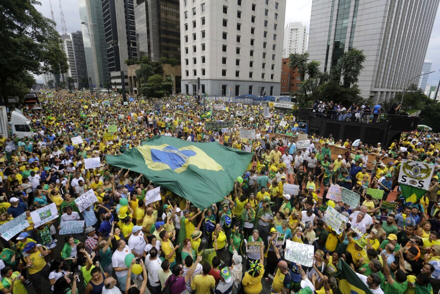 Demonstrators march to demand Rousseff's impeachment in Sao Paulo, Brazil, on Sunday.