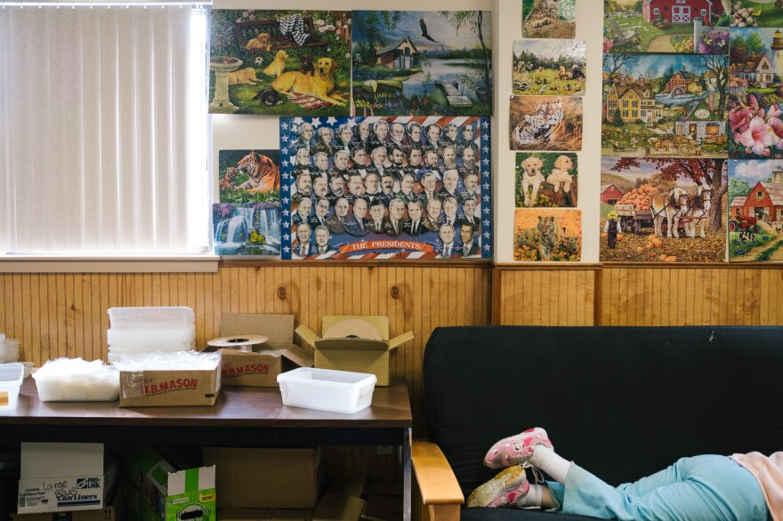 Completed jigsaw puzzles are displayed at the Arc Northeastern Pennsylvania.
