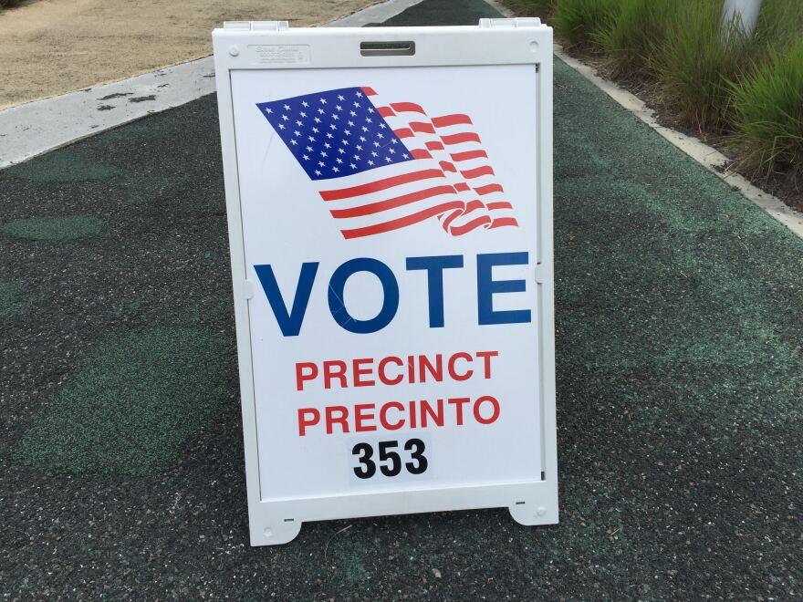 A vote sign outside a precinct