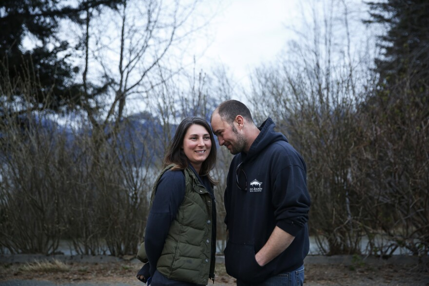 Haynes Tormey and his wife, Katie. Haynes moved back to Haines, the town where he grew up, and is now a mechanic and commercial fisherman.