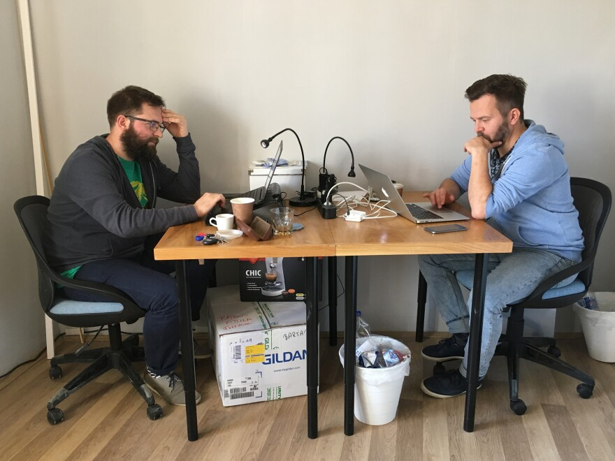 Journalists Ervin Guth (left) and Ferenc Nimmerfroh work out of a small office in downtown Pecs, a city in southern Hungary. They and colleague Attila Babos started the independent news site Szabad Pecs (Free Pecs) after the local newspaper where they worked was purchased by a pro-government media company.