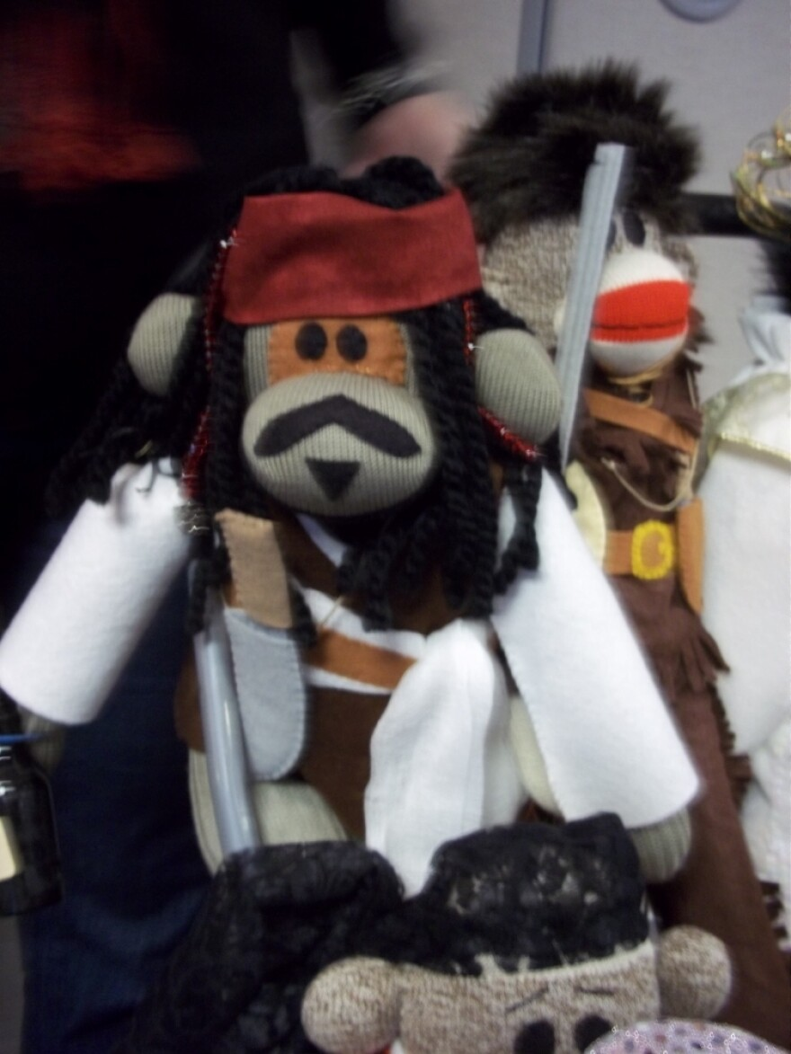 Martha Pyles' Jack Sparrow Sock Monkey. Her Elvis lookalike won last year's best of show at the festival.