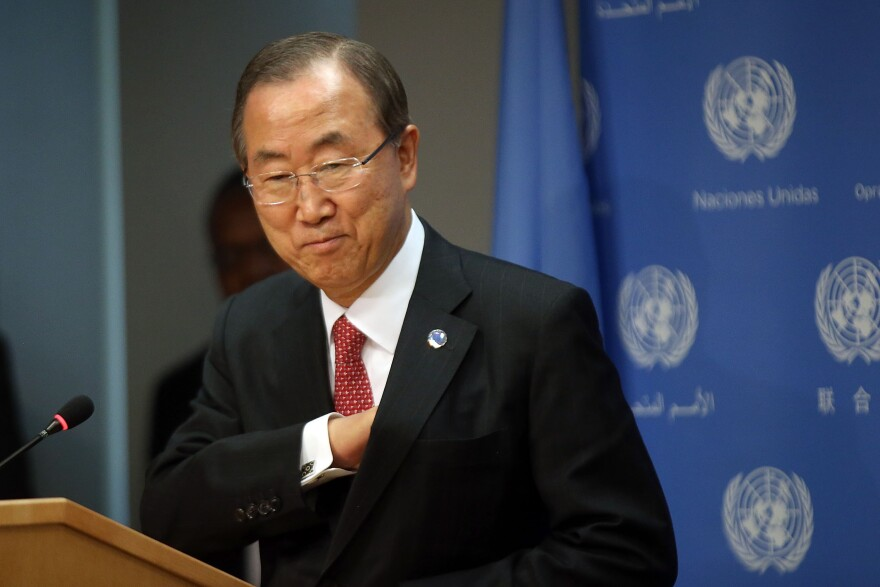 Secretary-General of the United Nations Ban Ki-moon arrives for a news conference about the situation in Syria at the United Nations on Tuesday, in New York City.