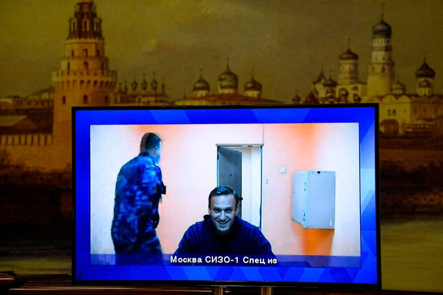 Opposition leader Alexei Navalny appears on a screen set up at a hall of the Moscow Regional Court via a video link from Moscow's penal detention centre Number 1 (known as Matrosskaya Tishina) during a court hearing of an appeal against his arrest, in Krasnogorsk outside Moscow.