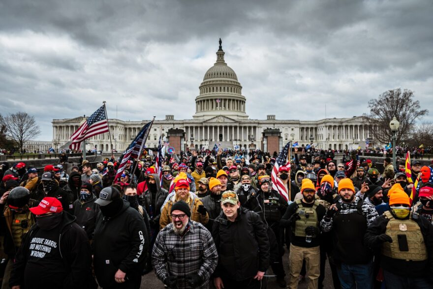Pro-Trump  insurrectionists gathered in front of the U.S. Capitol Building on January 6.