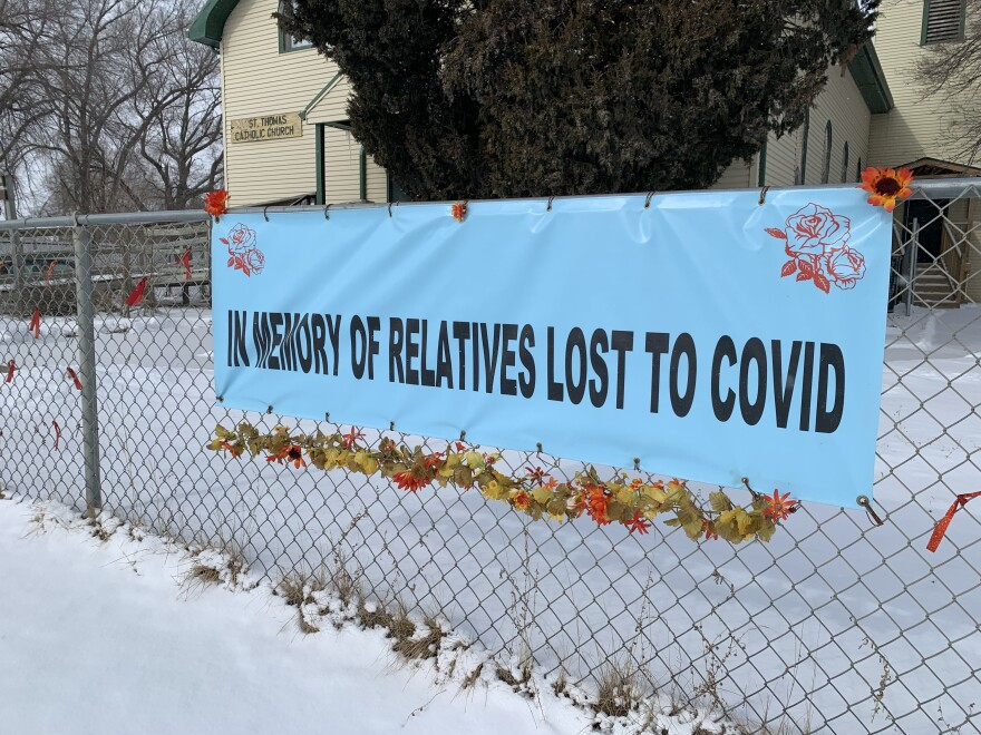 A memorial organized by Rosebud Sioux tribal member Kathy Blea marking the 25 lives lost in the pandemic.