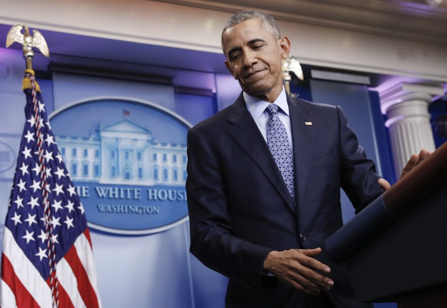 President Barack Obama turns from the podium at the conclusion of his final news conference, Wednesday, Jan. 18, 2017, in the Brady Press Briefing Room of the White House in Washington.