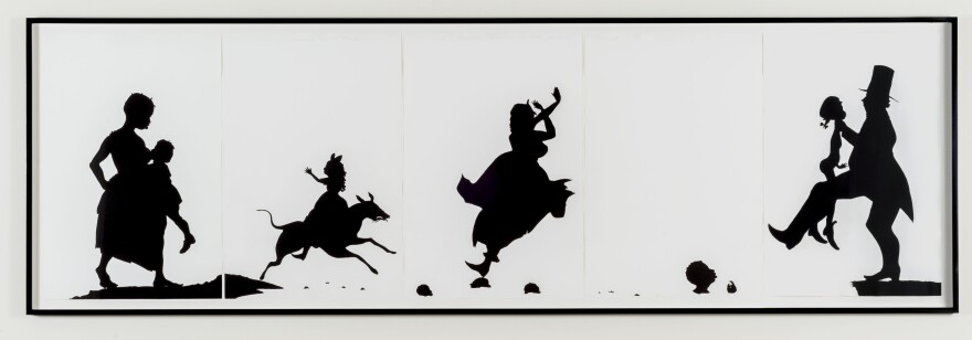 Kara Walker uses striking, black-and-white silhouettes in her 1995 work <em>The Means to an End...A Shadow Drama in Five Acts.</em>