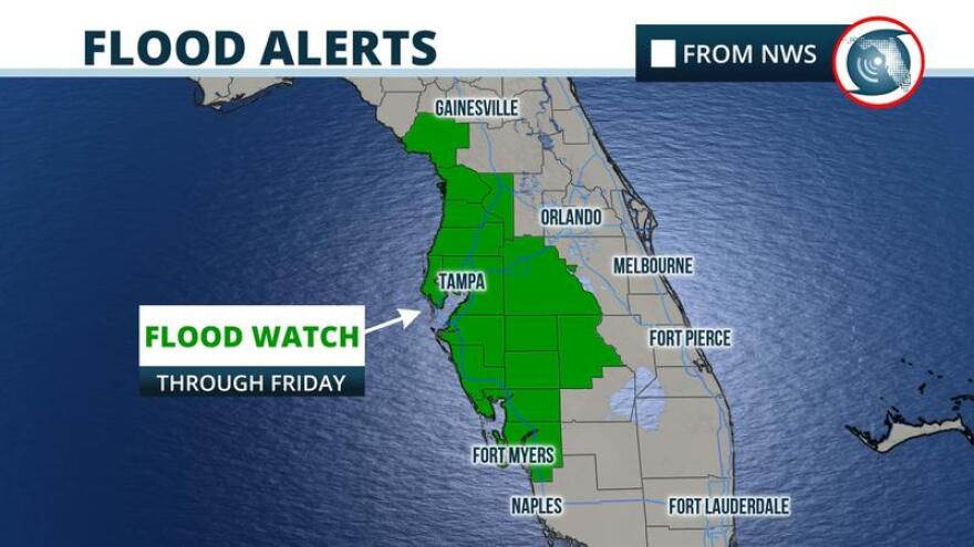 A Flood Watch remains in effect for Tampa Bay through Friday.