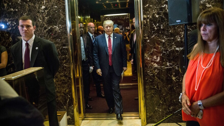 Donald Trump leaves an elevator at Trump Tower in New York City, just prior to delivering a speech in September that outlined his plan for tax reform.
