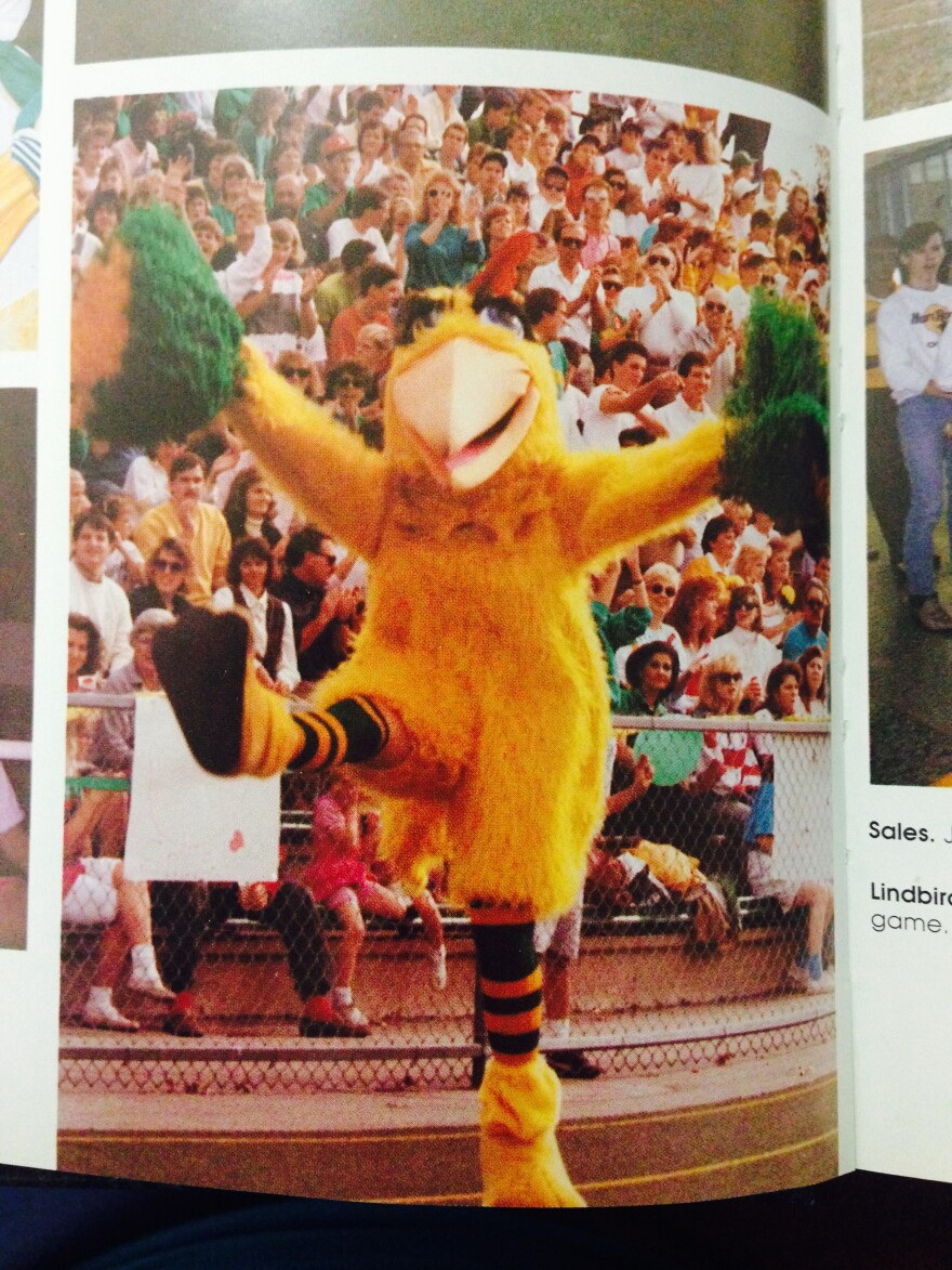 """When she was a student at Lindbergh High School, Englund portrayed the feathery mascot """"Lind Bird."""""""