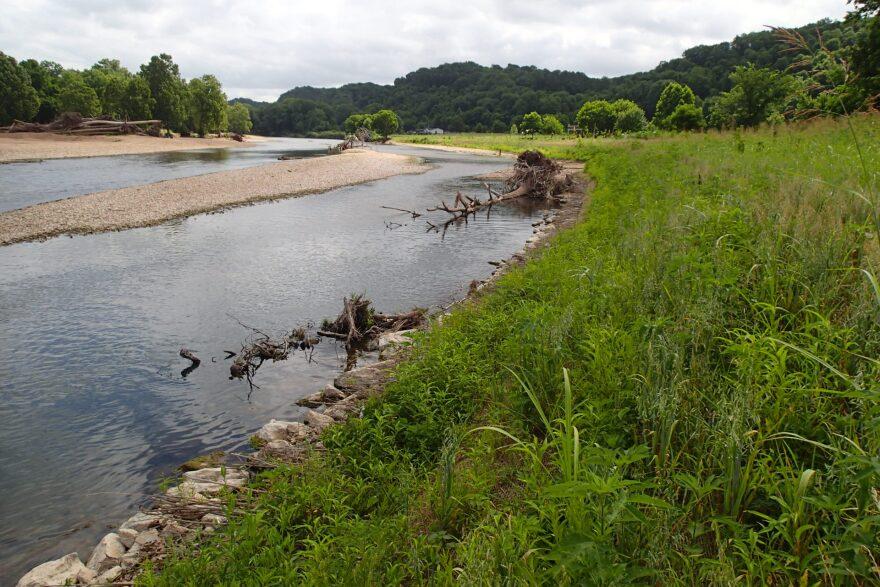 A bioengineered streambank at Elk River in southwest Missouri.