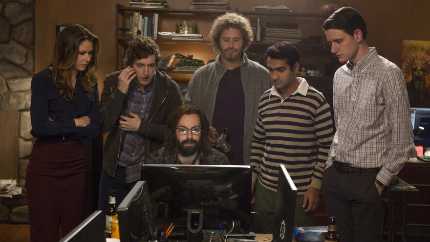 Amanda Crew, Thomas Middleditch, Martin Starr, T.J. Miller, Kumail Nanjiani and Zach Woods star in the HBO series <em>Silicon Valley</em>.