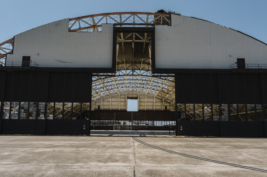 Tyndall Air Force Base's Hangar 5 lost most of its roof after the eye of the hurricane passed over the base last fall. The base is using temporary inflatable hangars to continue operations.