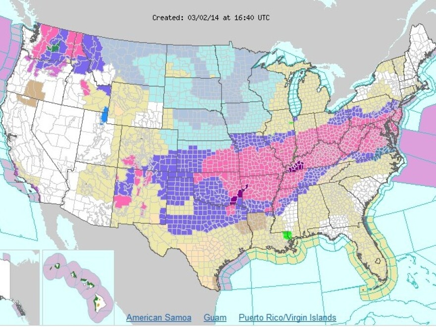 """The National Weather Service calls for snow, ice or a """"wintery mix"""" across much of the nation."""