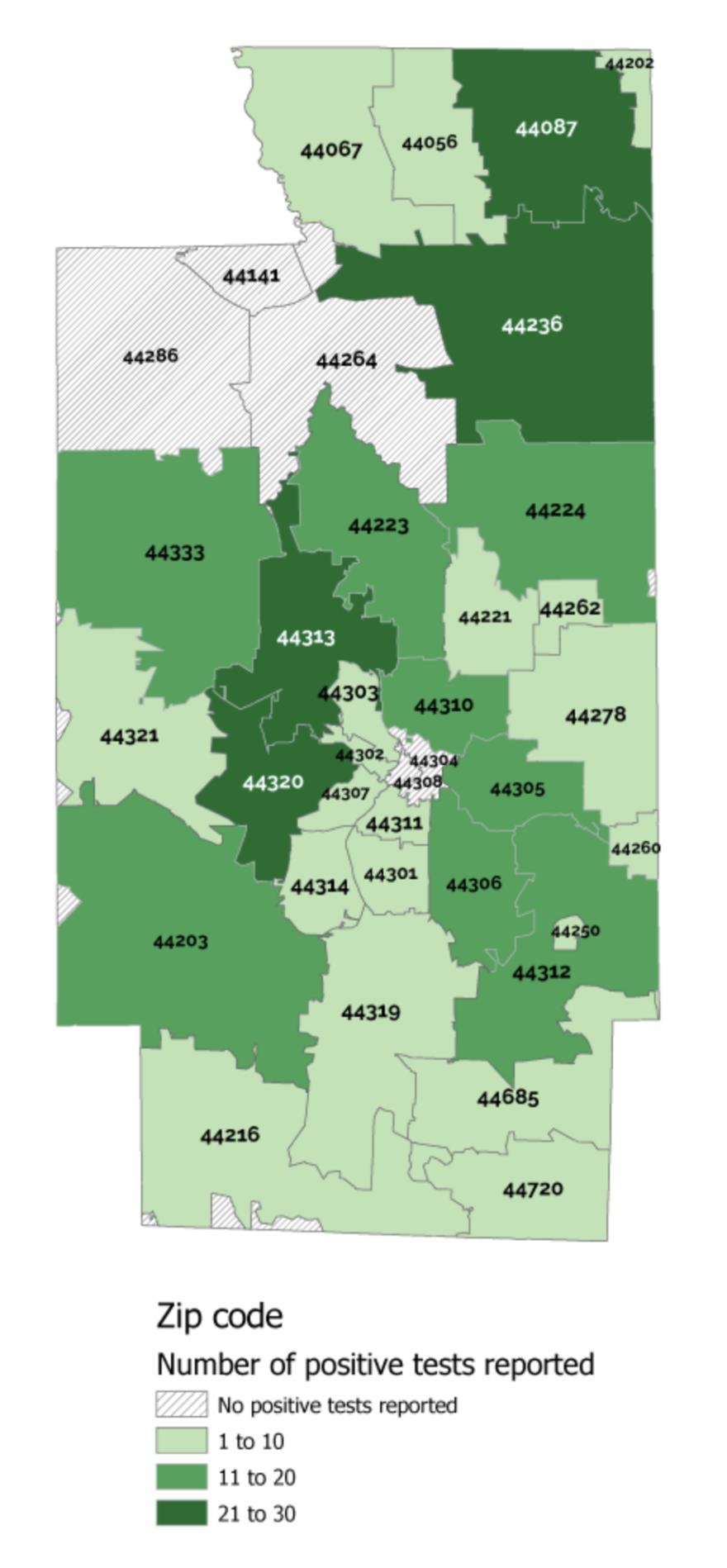 map of Summit County coronavirus cases by zip code