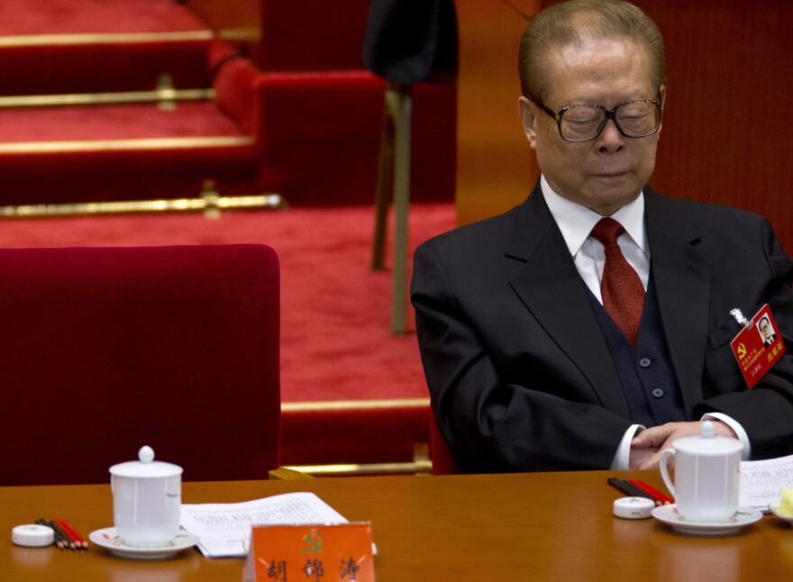Even the party's top brass isn't immune to the siren call of the snooze: Jiang Zemin, formerly China's president and top party leader, dozes while then-Chinese President and Chinese Communist Party General Secretary Hu Jintao reads a work report during the opening session of 18th Communist Party Congress at the Great Hall of the People in Beijing, Nov. 8.