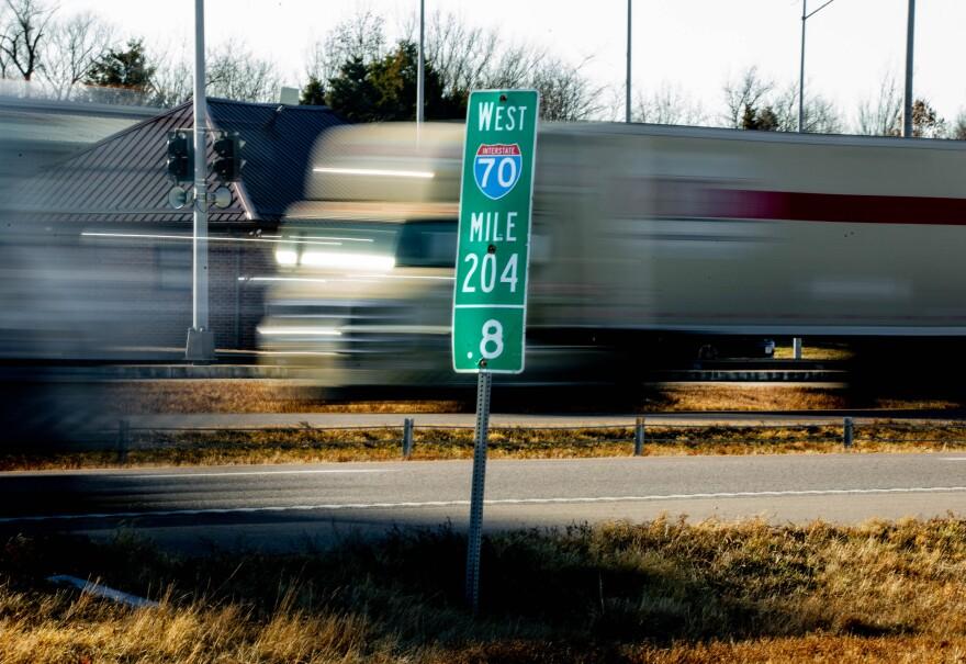 Mile marker sign on highway 70. 12/12/2019