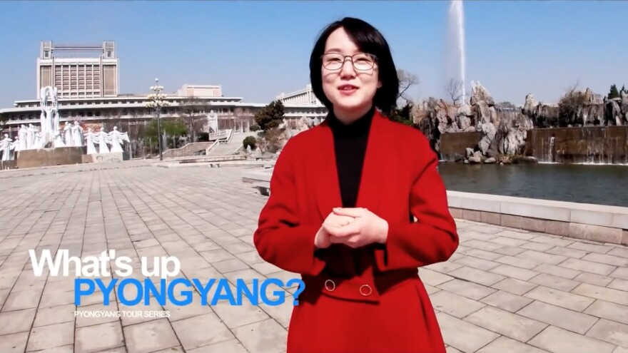 "A woman named Un A leads viewers on a tour of the North Korean capital, Pyongyang, in a recent YouTube video. ""Every building in Pyongyang is going through general cleaning to shake off winter dust,"" she says in English."