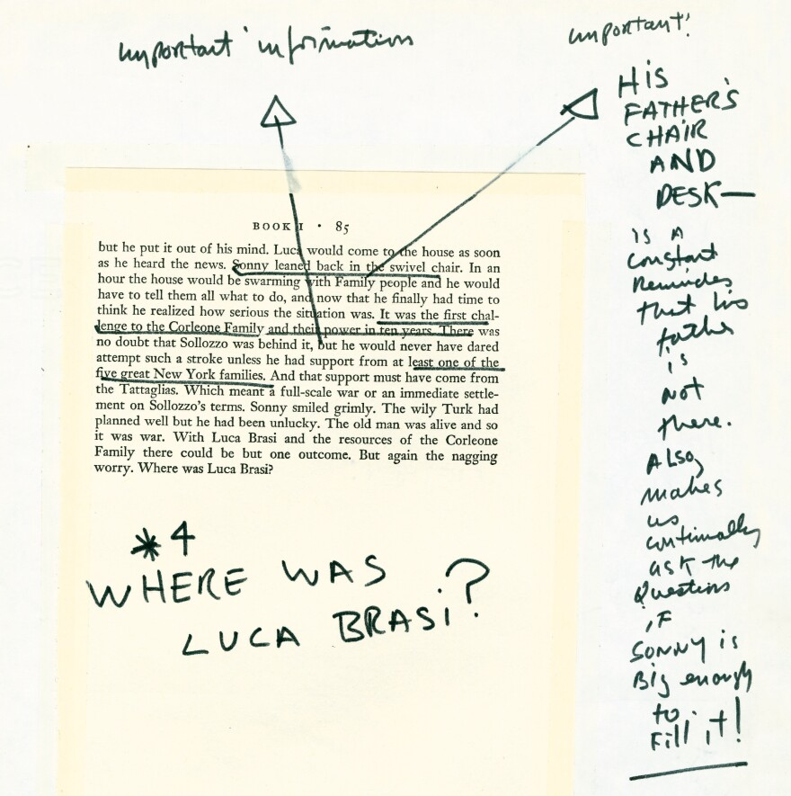 A page from <em>The Godfather Notebook</em> shows Coppola's notes on Mario Puzo's book.