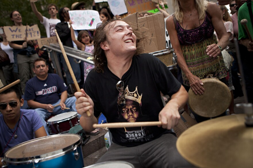 <p>The scene on Oct. 10 at one of the Occupy Wall Street drum circles in Manhattan's Zuccotti Park.</p>